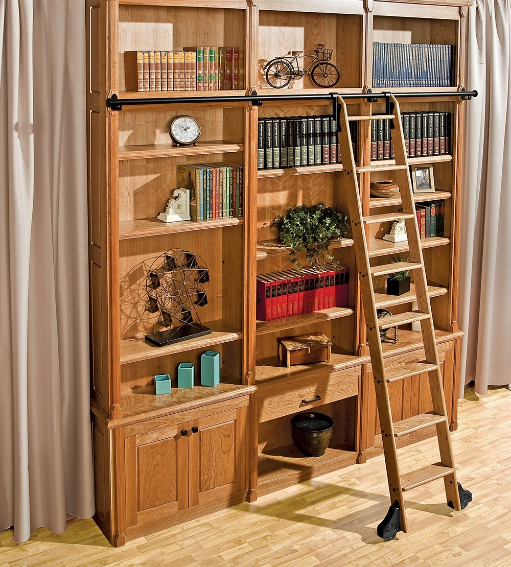 Library Ladder Kit Intended For Famous Installing A Custom Rolling Ladder Just Got Easier – New Rockler (View 10 of 15)