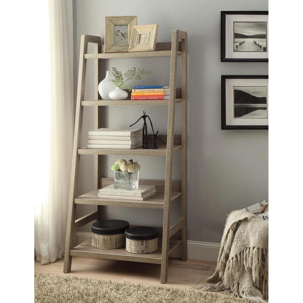 Linon Home Decor Tracey Gray Ladder Bookcase 69336gry01u – The Within Favorite Leaning Shelf Bookcases (Gallery 6 of 15)