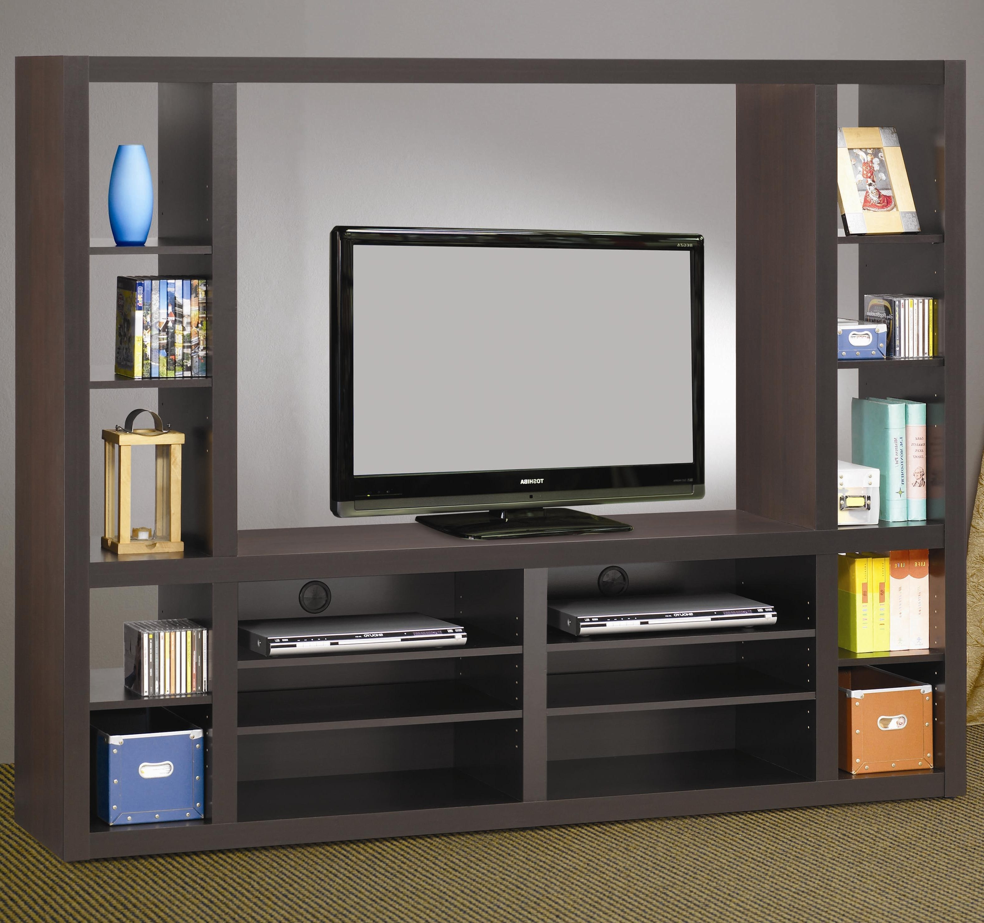 Living Room : Awesome Grey Wood Modern Design Elegant Wall Units Throughout Most Current Bookcases With Tv Storage (View 15 of 15)