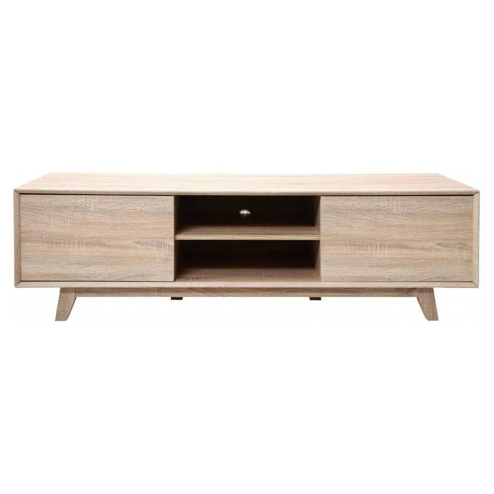 Low Media Unit With Regard To Well Known Buy Light Oak Veneer Low Media Unit From Fusion Living (View 3 of 15)