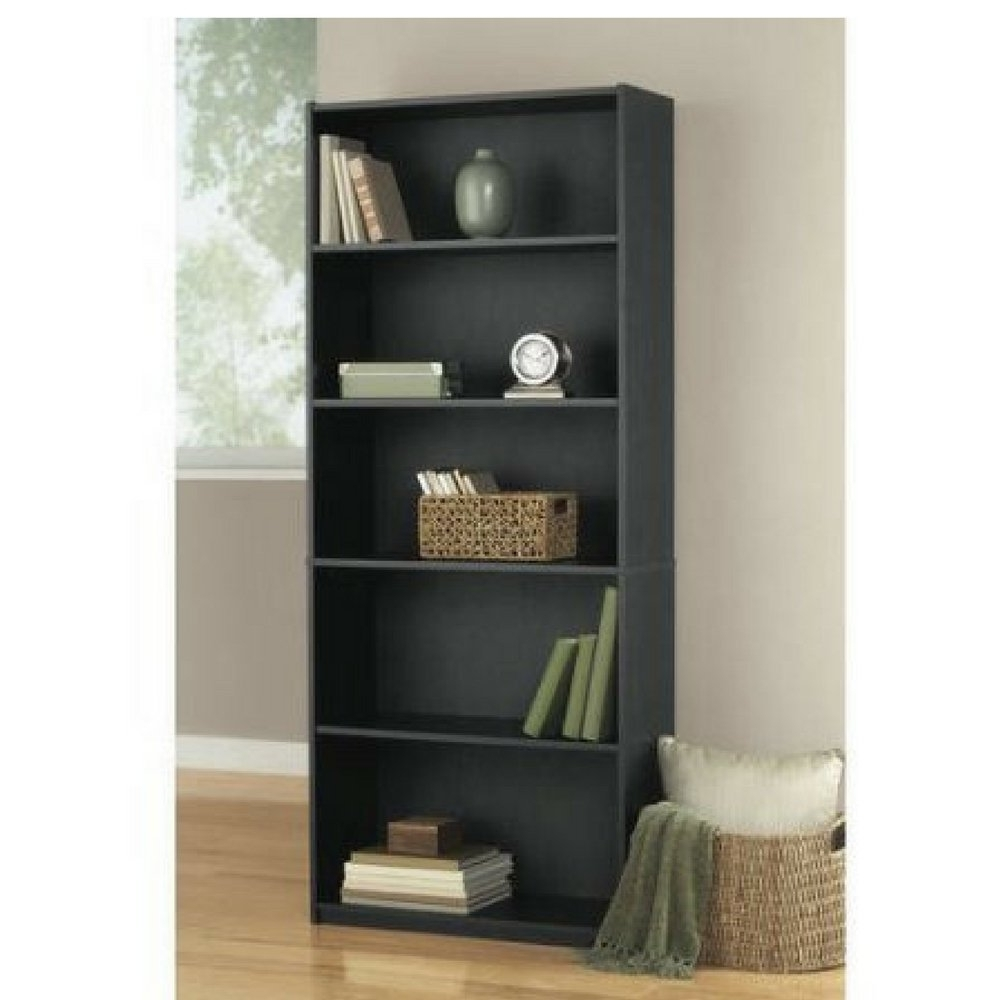 Mainstays 5 Shelf Bookcases Pertaining To Popular Amazon: Black Oak Color 5 Shelf Wood Bookcase: Kitchen & Dining (View 6 of 15)