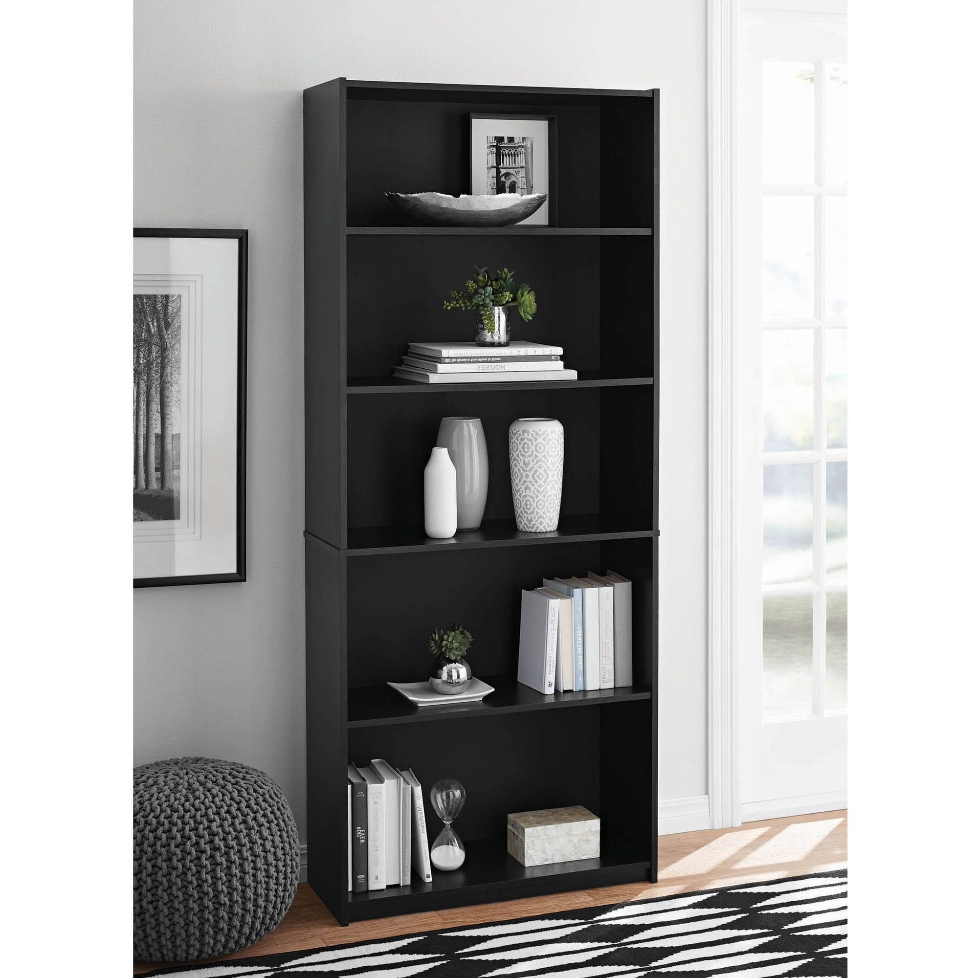 Mainstays 5 Shelf Bookcases With Regard To Well Known Mainstays 5 Shelf Standard Wood Bookcase – Walmart (View 4 of 15)