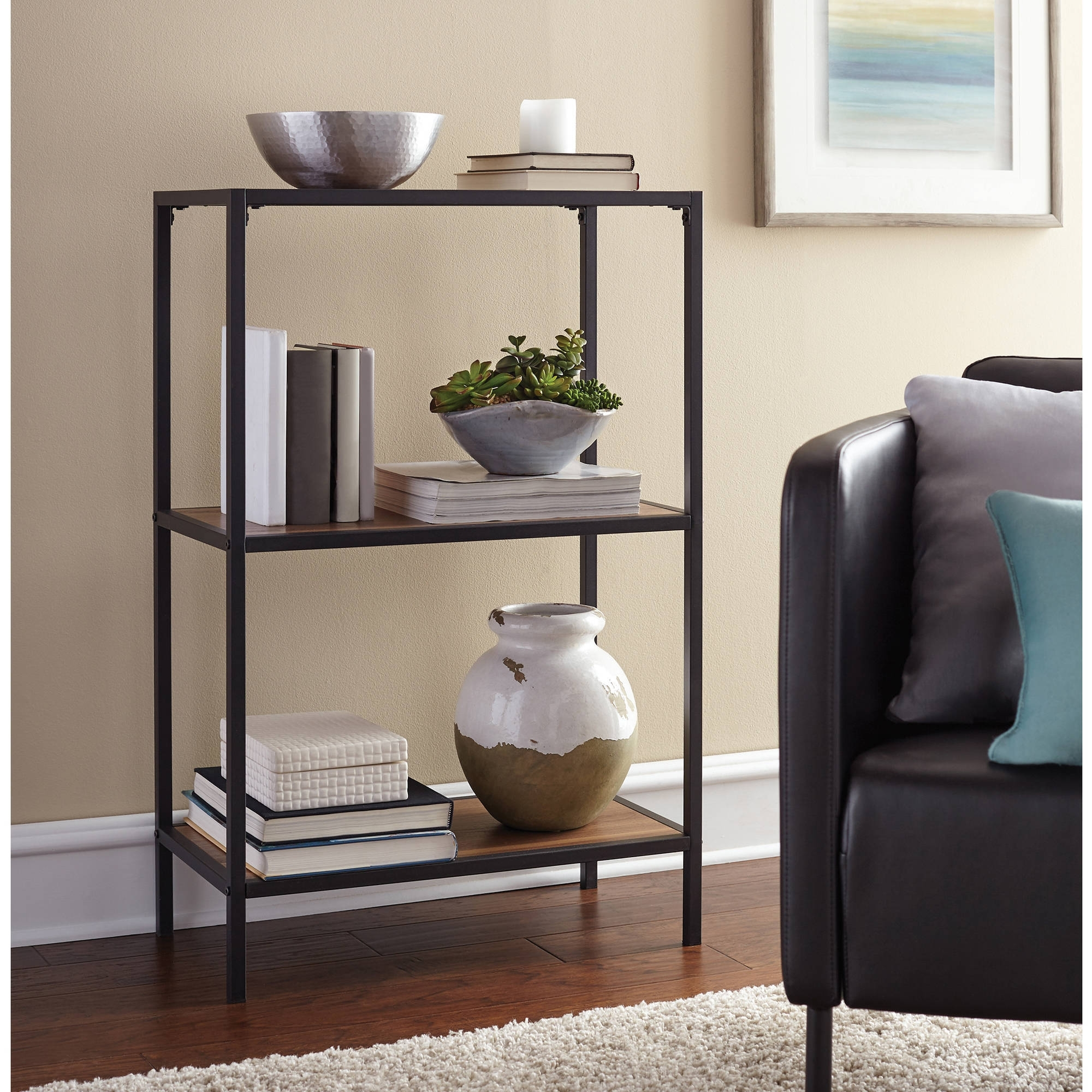 Mainstays Metro 3 Shelf Bookcase, Warm Ash Finish – Walmart Within Latest Walmart 3 Shelf Bookcases (View 8 of 15)