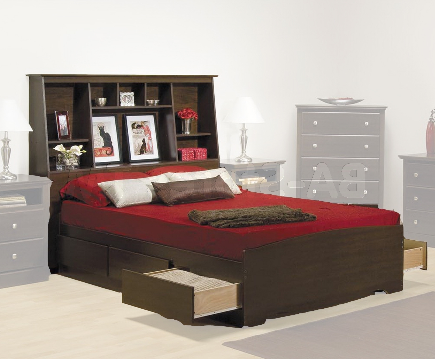 Marvelous Bookcase Headboard Queen Black White Cypress Storage Throughout Trendy Full Size Storage Bed With Bookcases Headboard (View 3 of 15)