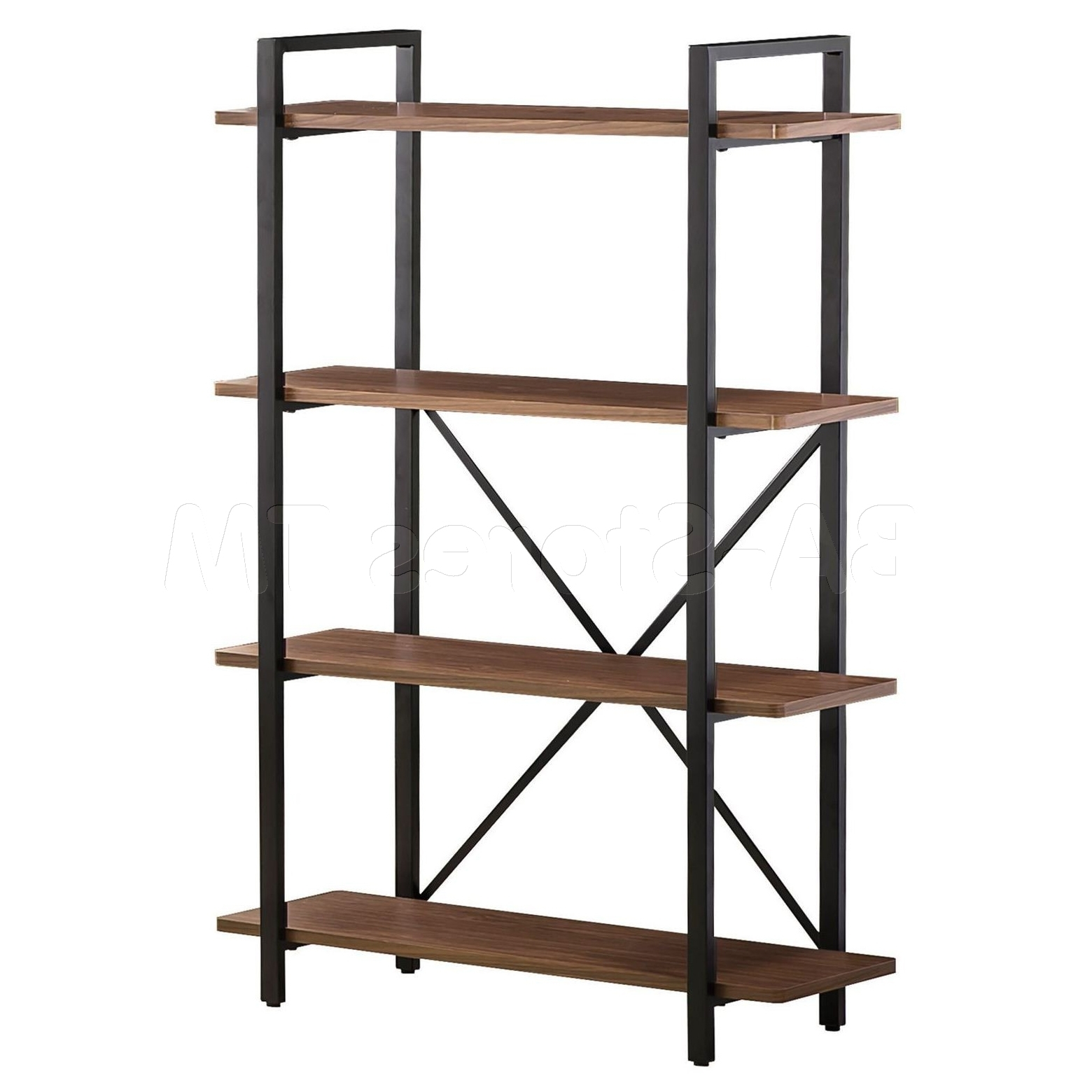Metal And Wood Bookcases Intended For Most Recently Released Tall Black Industrial Metal Bookcase With Crossed Back Details And (View 2 of 15)