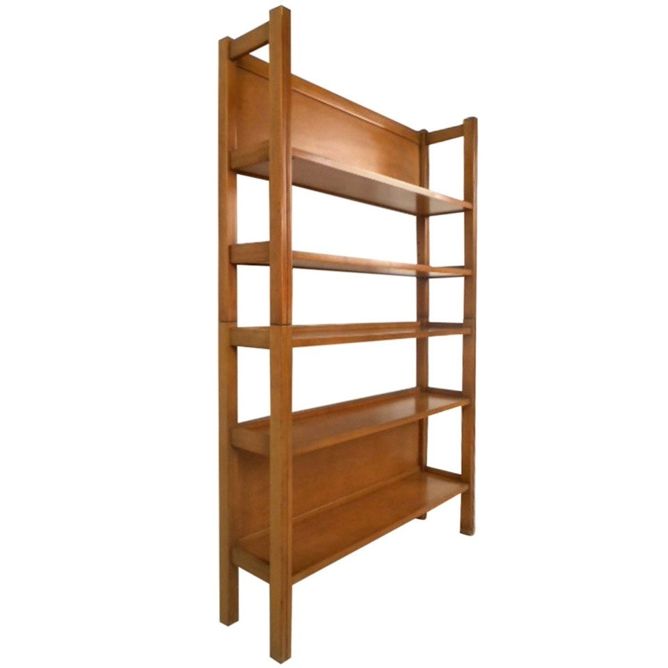 Mid Century Bookcases Pertaining To Well Known Unique Mid Century Modern Two Piece Maple Bookshelf At 1Stdibs (View 8 of 15)