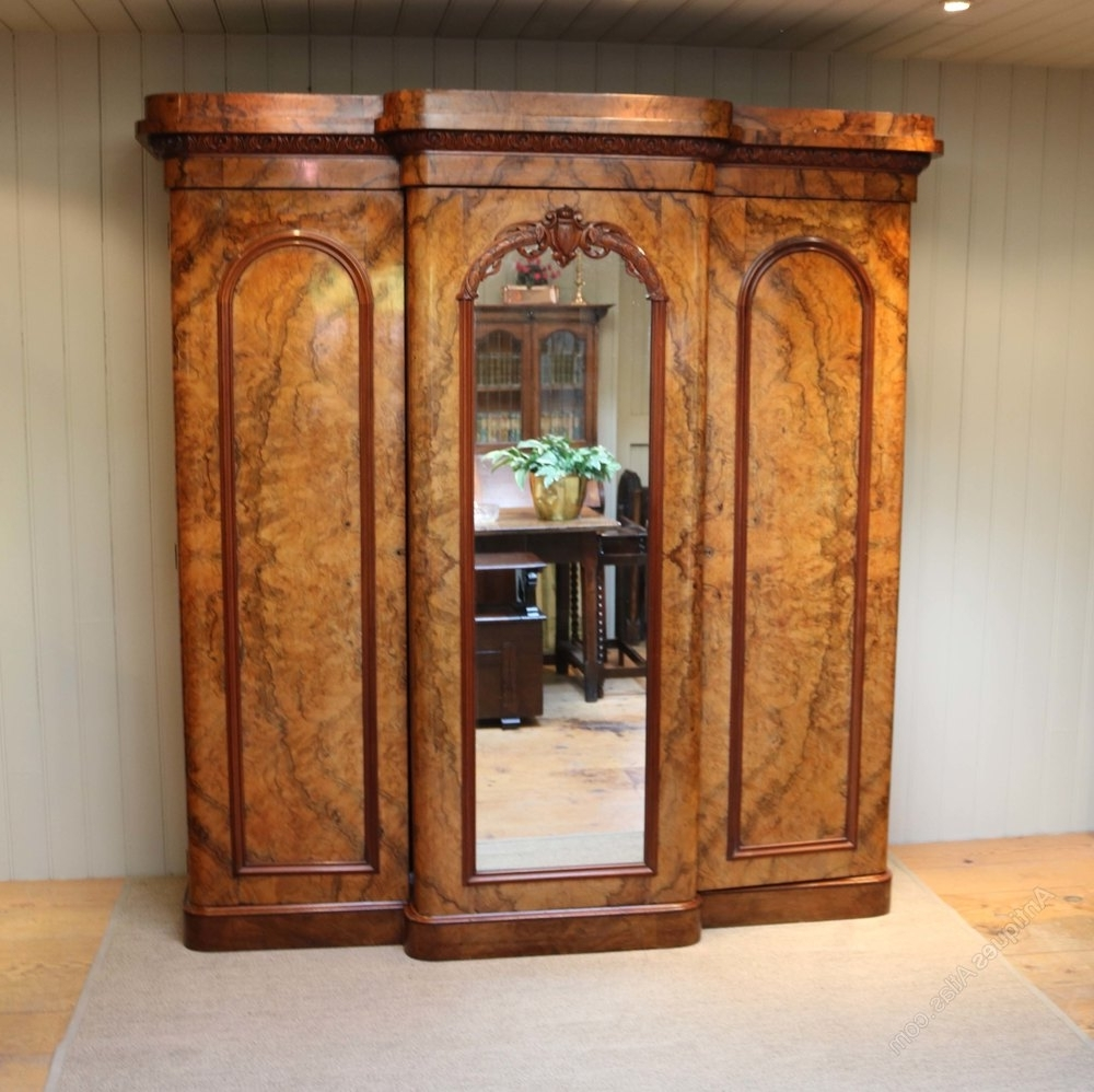 Mid Victorian Burr Walnut Break Front Wardrobe – Antiques Atlas For Best And Newest Victorian Breakfront Wardrobes (View 12 of 15)