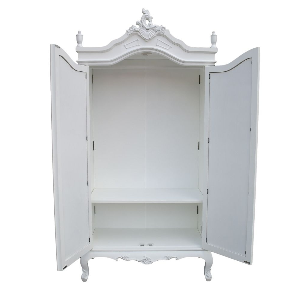 Mirrored Wardrobe Armoire, Wardrobe Cabinet Style Double Armoire Inside Most Popular White Wardrobes Armoire (View 8 of 15)