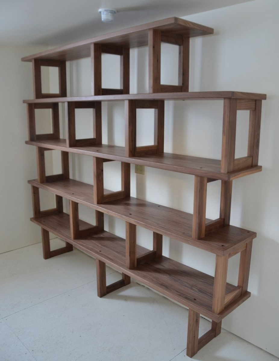Modern Bookcases Inside Well Known Handmade Walnut Bookcase, Modern And Modularpacksaddle Road (View 7 of 15)