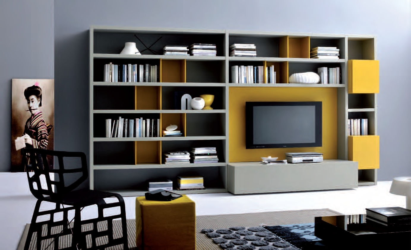 Modern Wall Units For Bookshelf Design Idea With Wall Mount Tv Inside Popular Tv Bookshelves Unit (View 2 of 15)