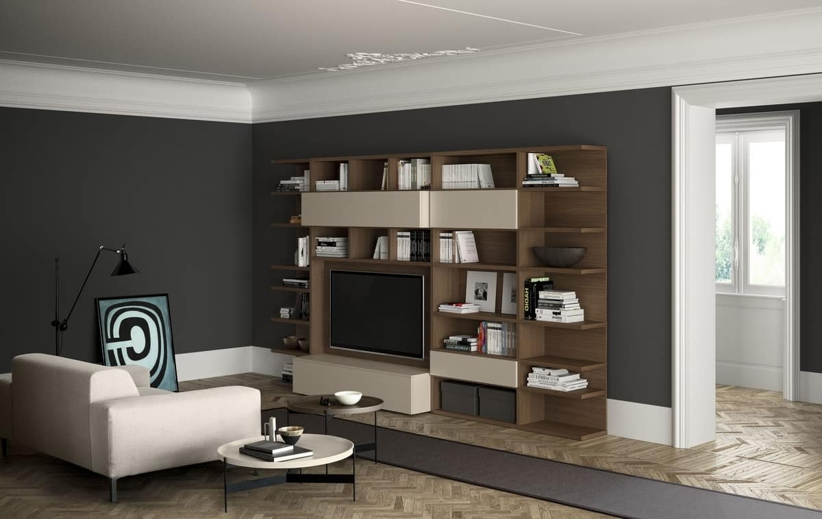 Modern Wooden Bookcase With Tv Space (View 5 of 15)