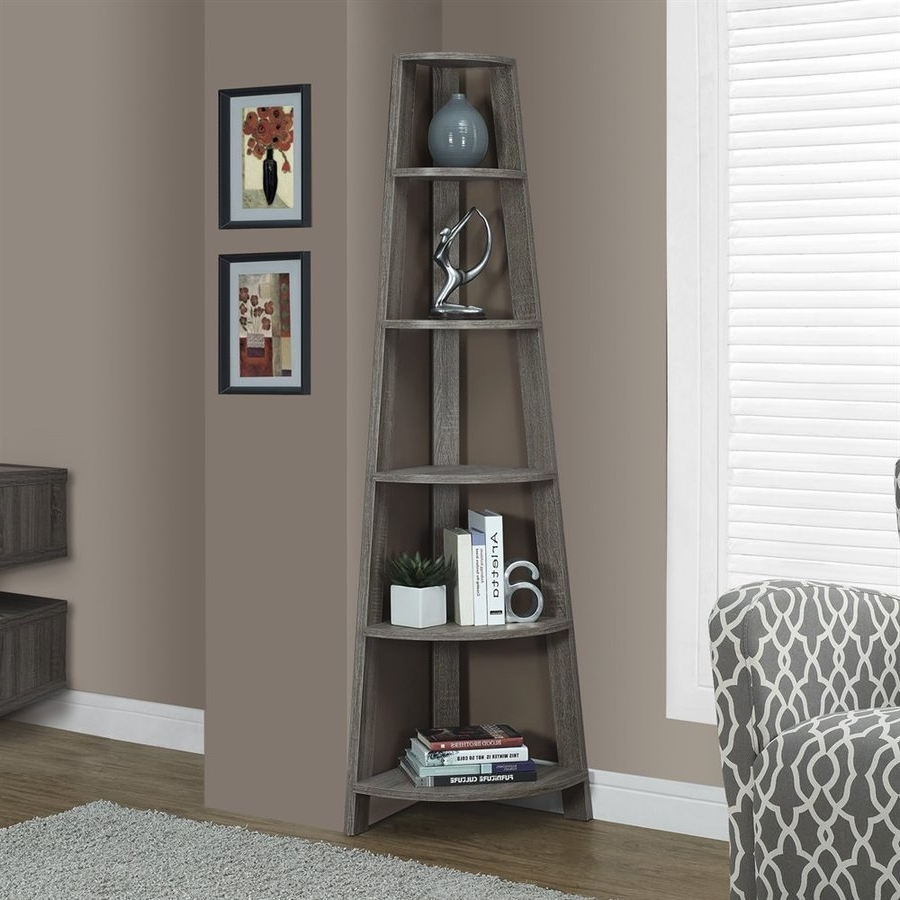 Monarch Bookcases Within Fashionable Shop Monarch Specialties Dark Taupe Composite 5 Shelf Bookcase At (View 8 of 15)