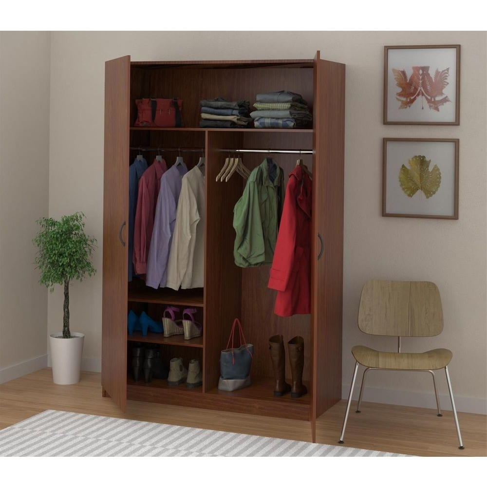 Most Current Ameriwood Wardrobe Storage Closet With Hanging Rod And 2 Shelves Pertaining To Hanging Wardrobes Shelves (View 9 of 15)