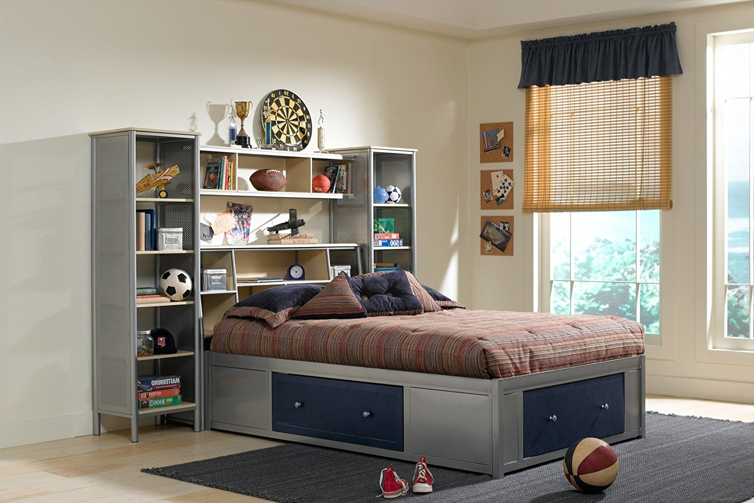 Most Current Bed Frame Bookcases Intended For Amazon – Universal Storage Platform Bed W/ Bookcase Headboard (View 11 of 15)