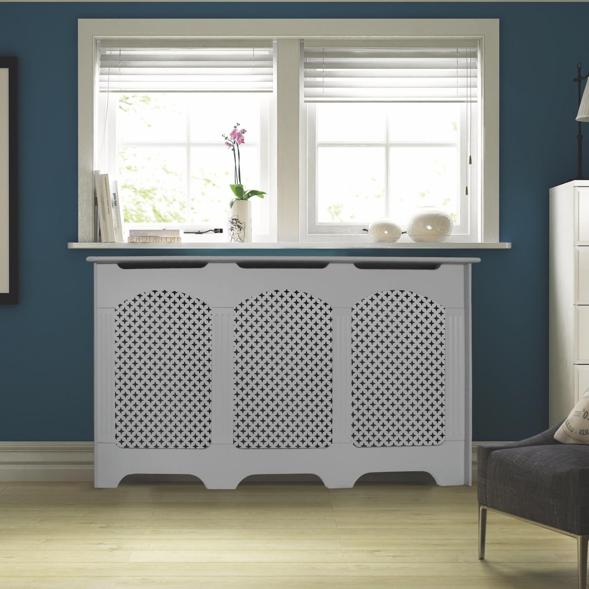 Most Current Cambridge Large White Painted Radiator Cover Departments Diy In Radiator Cupboards (View 7 of 15)