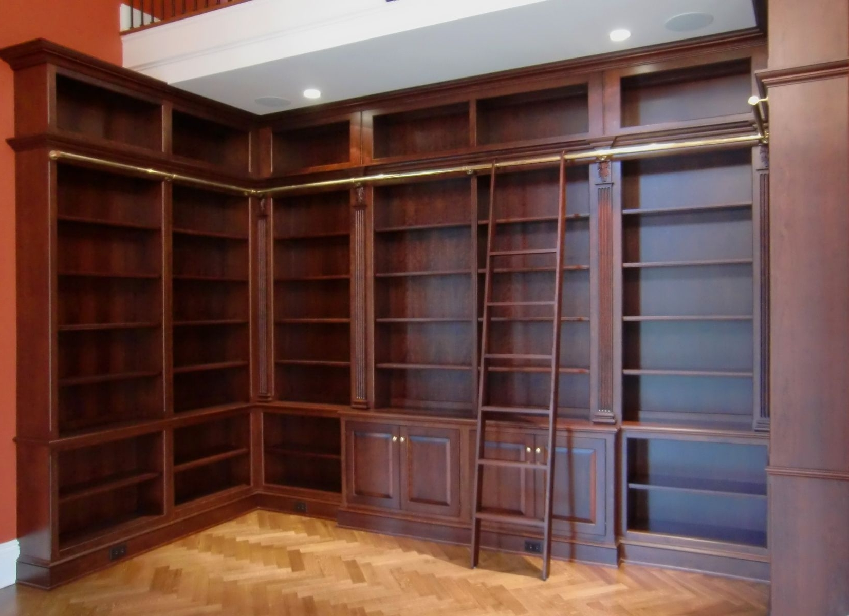 Most Current Custom Bookcases With Hand Crafted Library Bookcases With Ladderodhner & Odhner Fine (View 12 of 15)