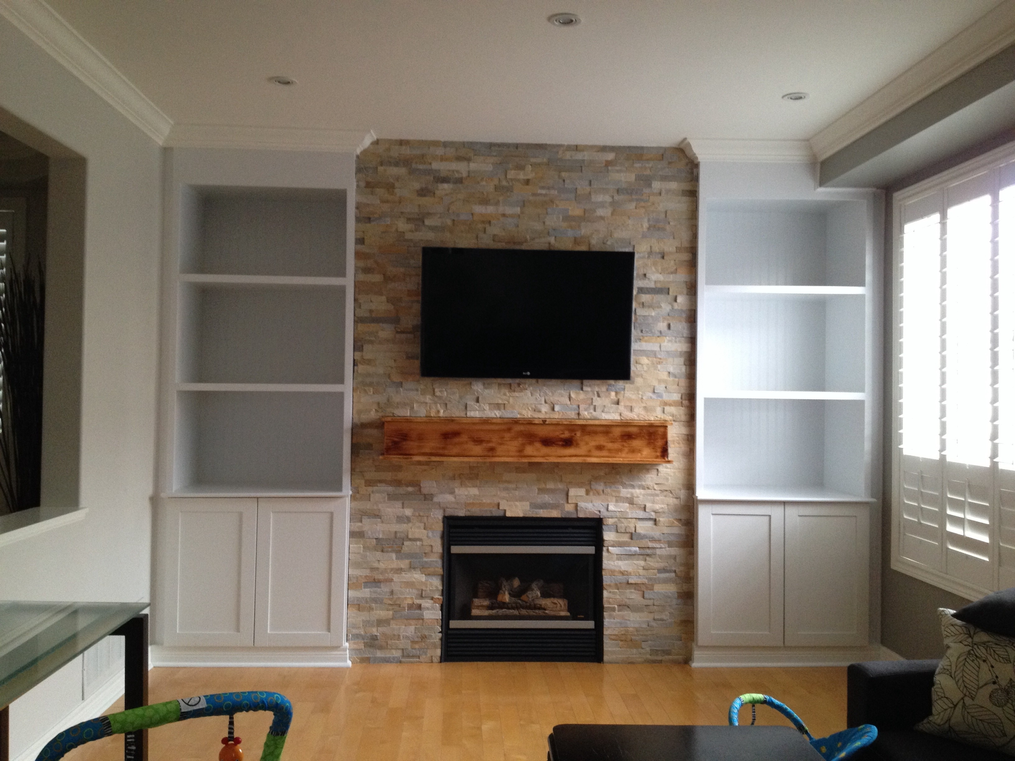 Most Current Full Wall Shelving Units Regarding Shelves : Magnificent Interior Living Room Brown Stained Wooden (View 8 of 15)