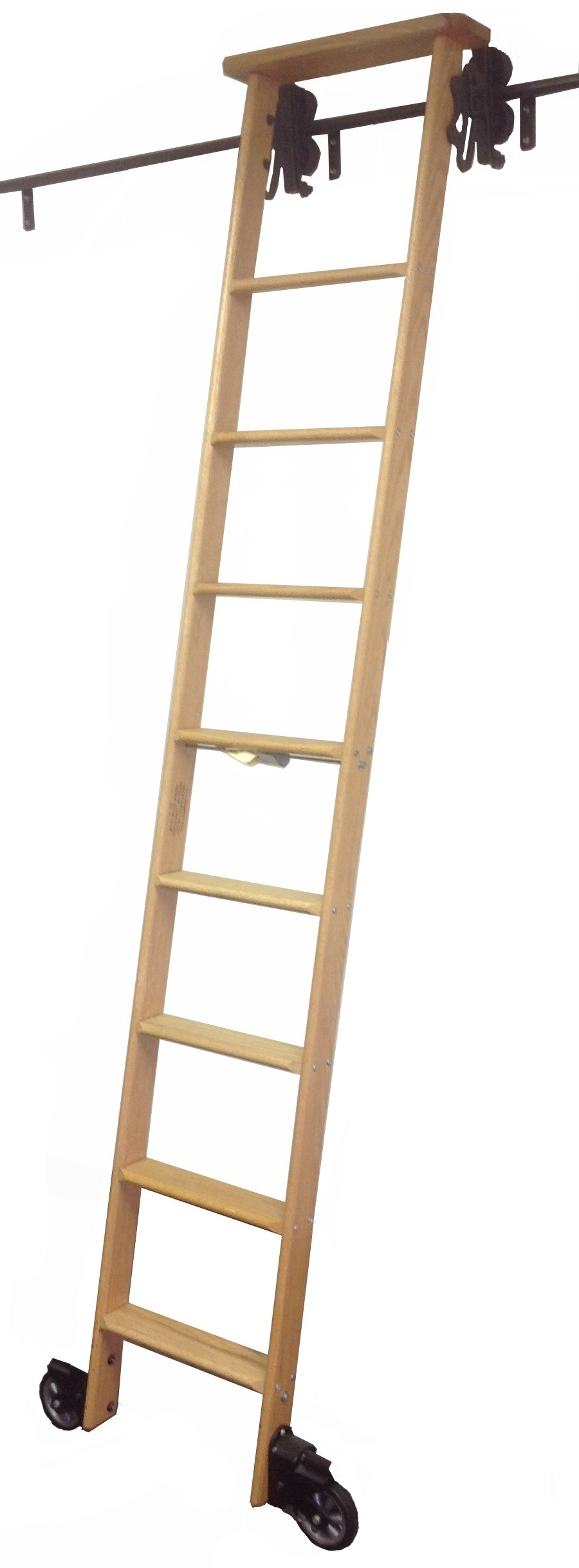 "Most Current Library Ladder Kit Inside Cotterman Wood Rolling Library Ladder Kit – Track Height Up To 11'3"" (View 4 of 15)"