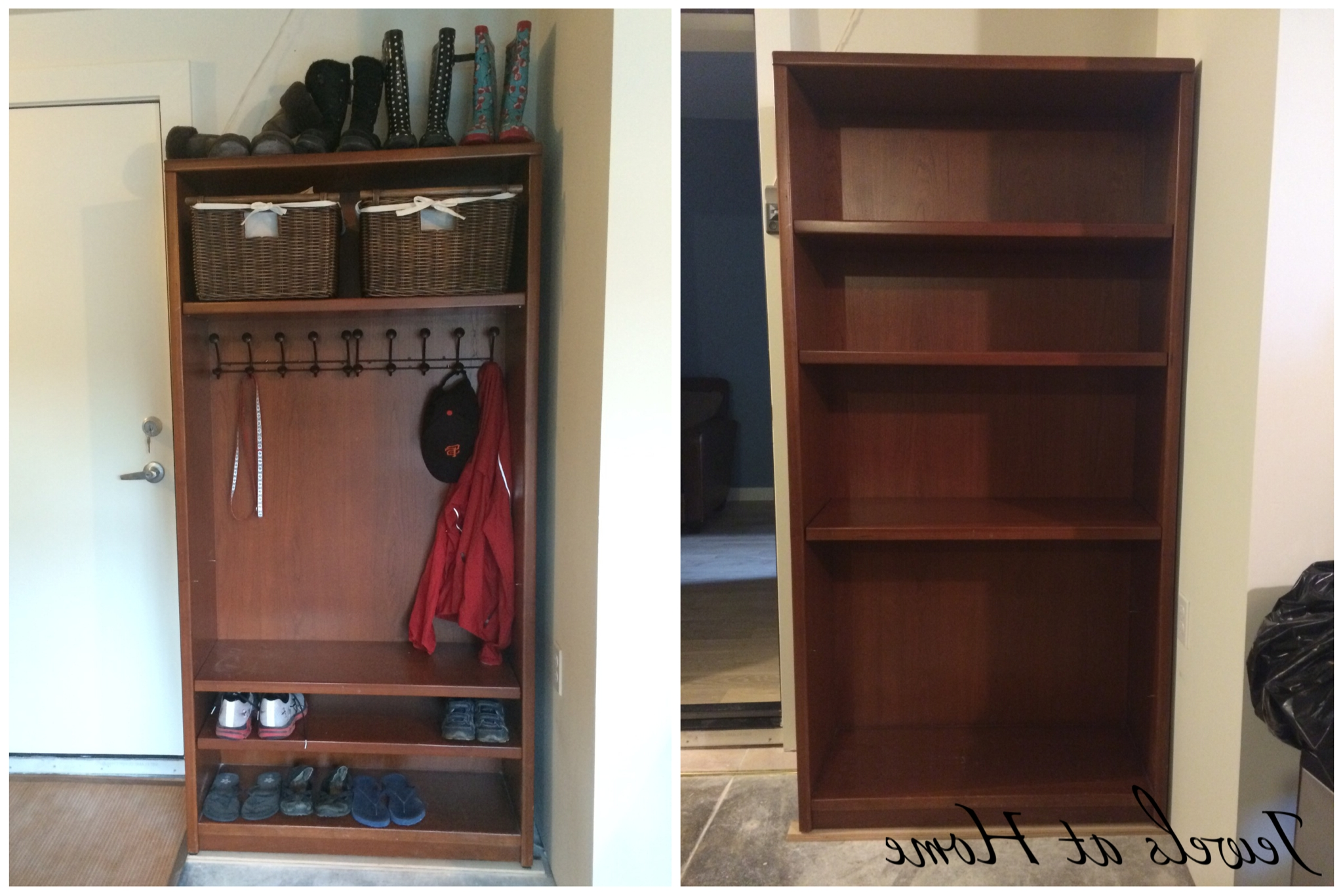 Most Current Repurpose Bookcases In Mudroom Locker Diy: Bookcase Makeover (View 7 of 15)