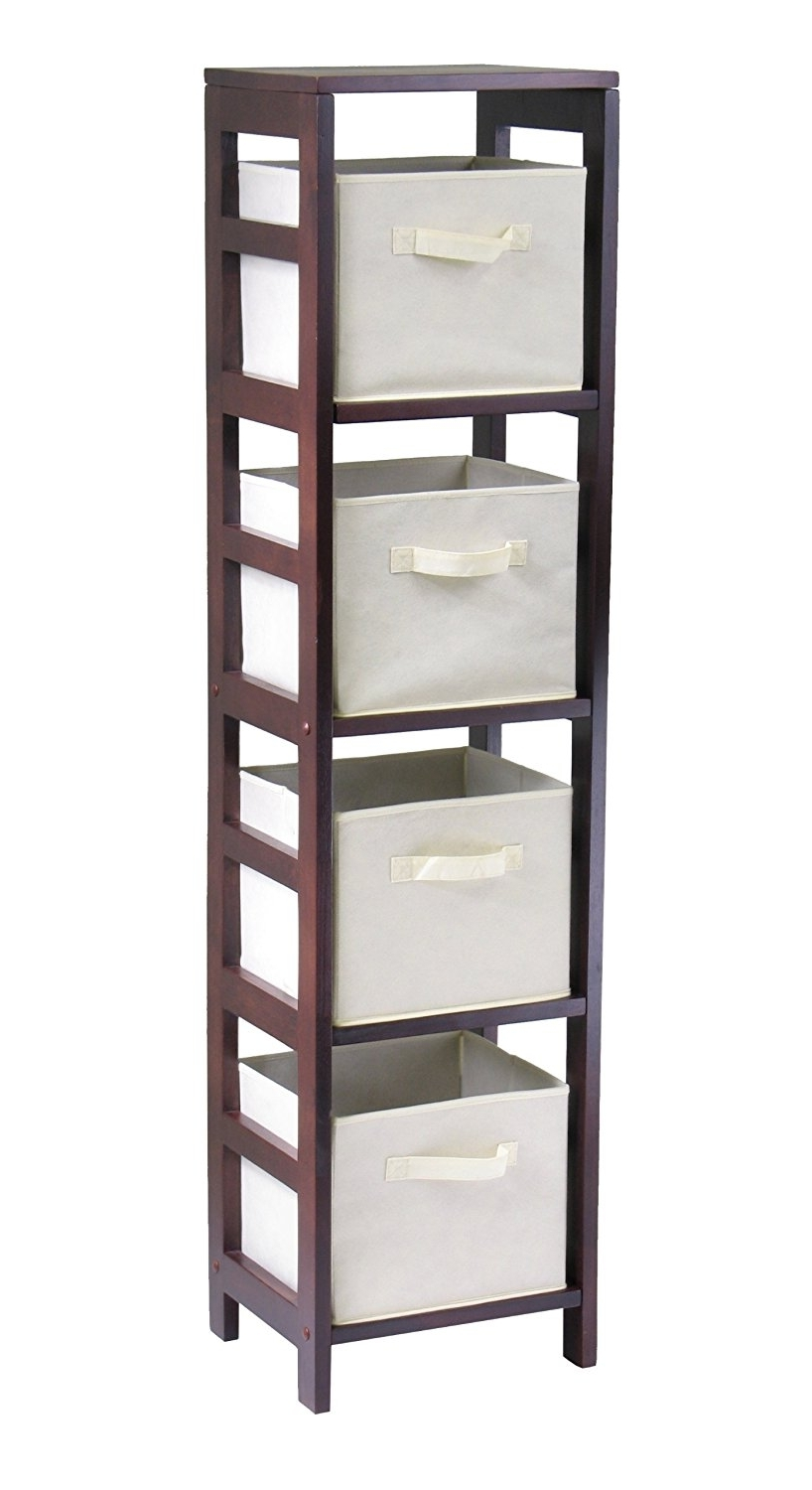 Most Current Very Narrow Shelving Unit With Amazon: Winsome Wood 4 Shelf Narrow Shelving Unit, Espresso (View 2 of 15)