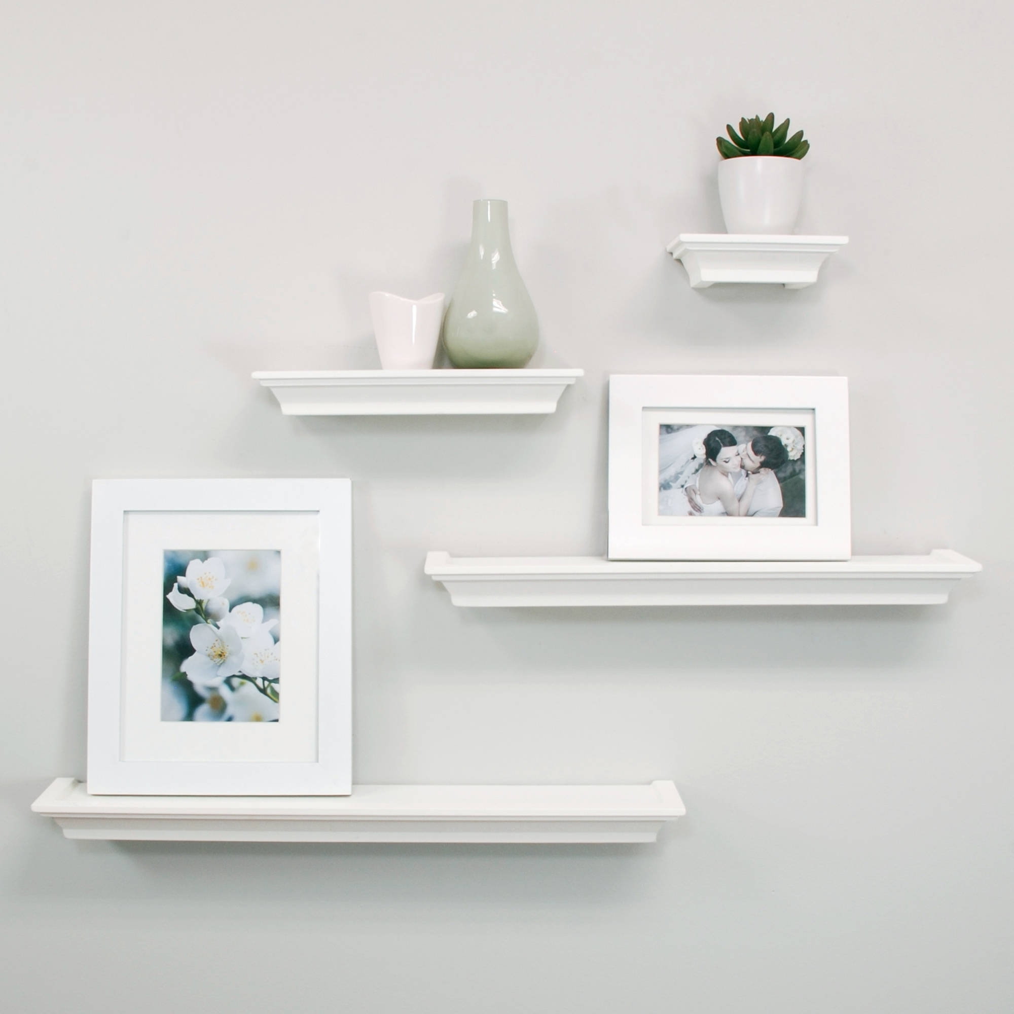 Most Current White Wall Shelves In Enigma Wall Shelf Set, 4 Piece – Walmart (View 3 of 15)