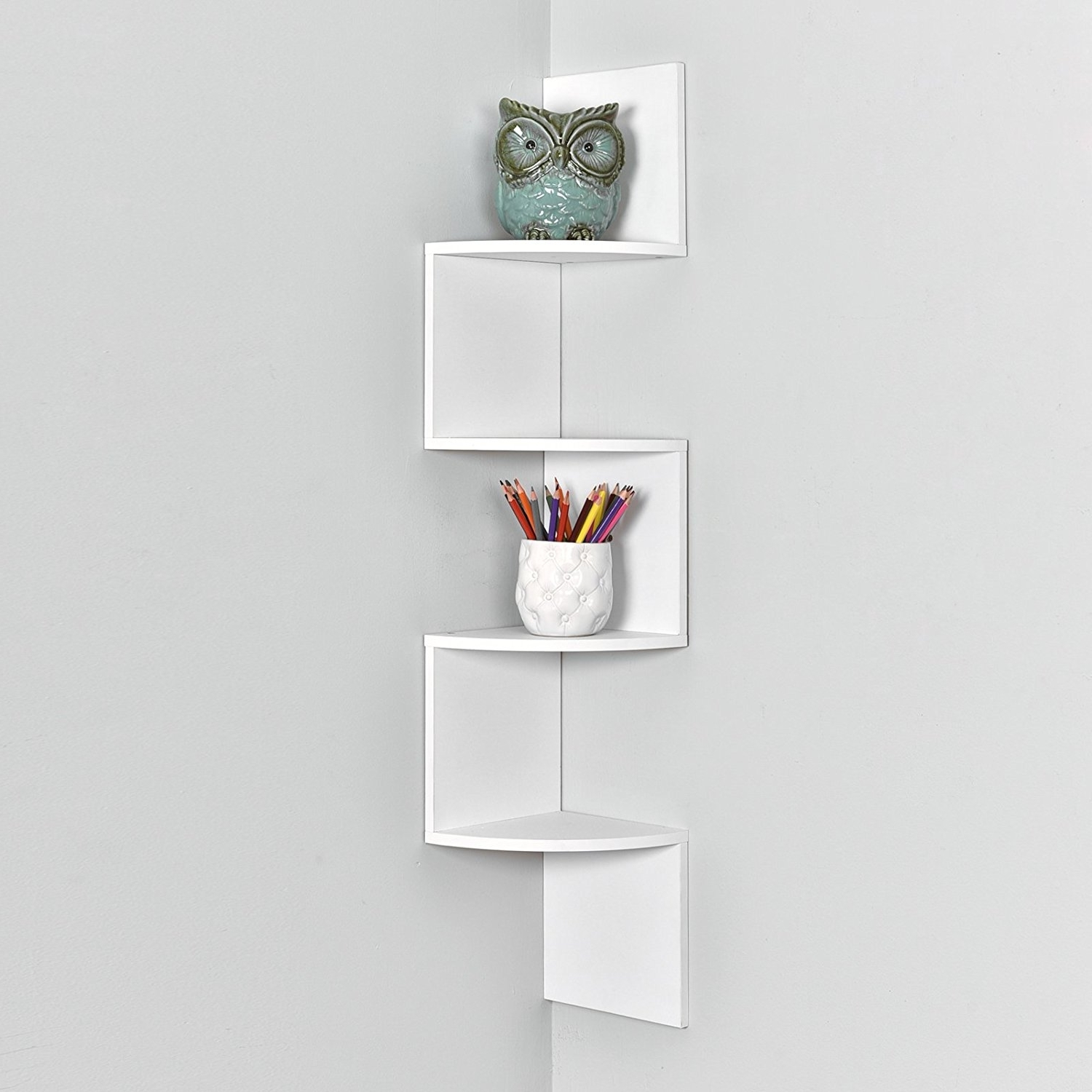 Most Current White Wall Shelves With Regard To Amazon: Welland Zig Zag 4 Tiers Corner Wall Shelf, White: Home (View 11 of 15)