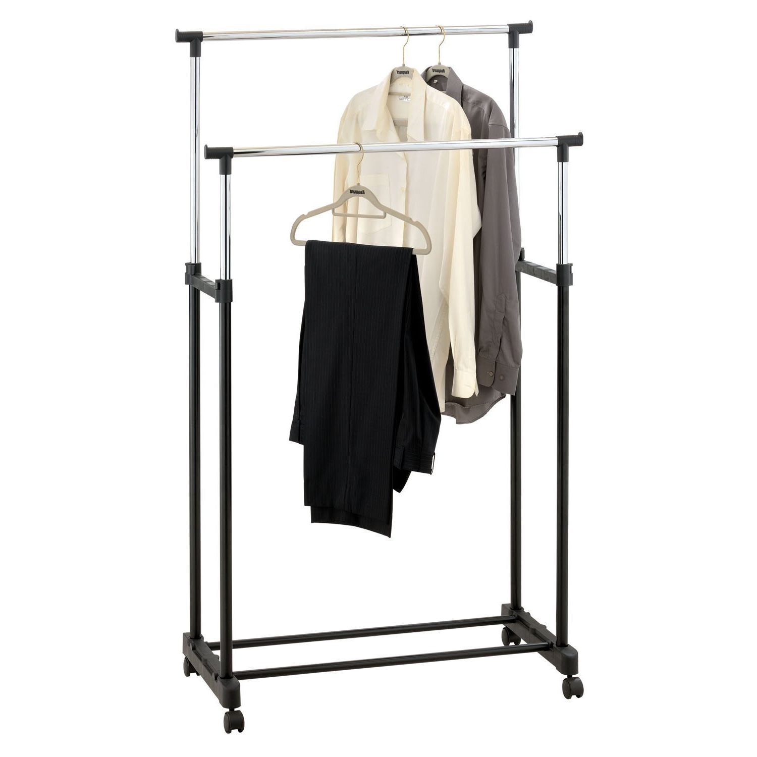 Most Popular Amos Double Adjustable Height Garment Clothes Dress Coats Jackets In Double Clothes Rail Wardrobes (View 9 of 15)