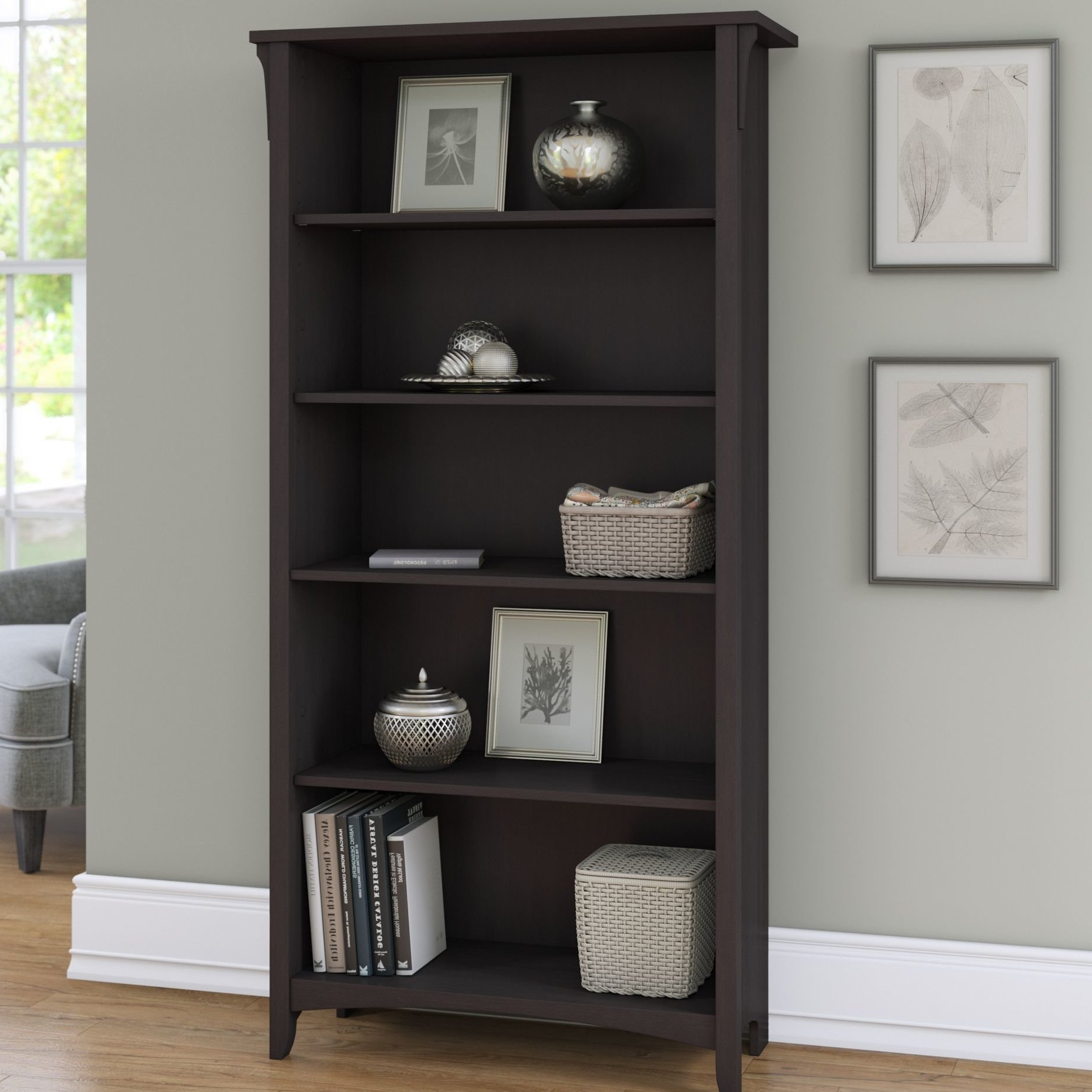 Most Popular Bookcases Cover In Alsatia 5 Shelf (View 15 of 15)