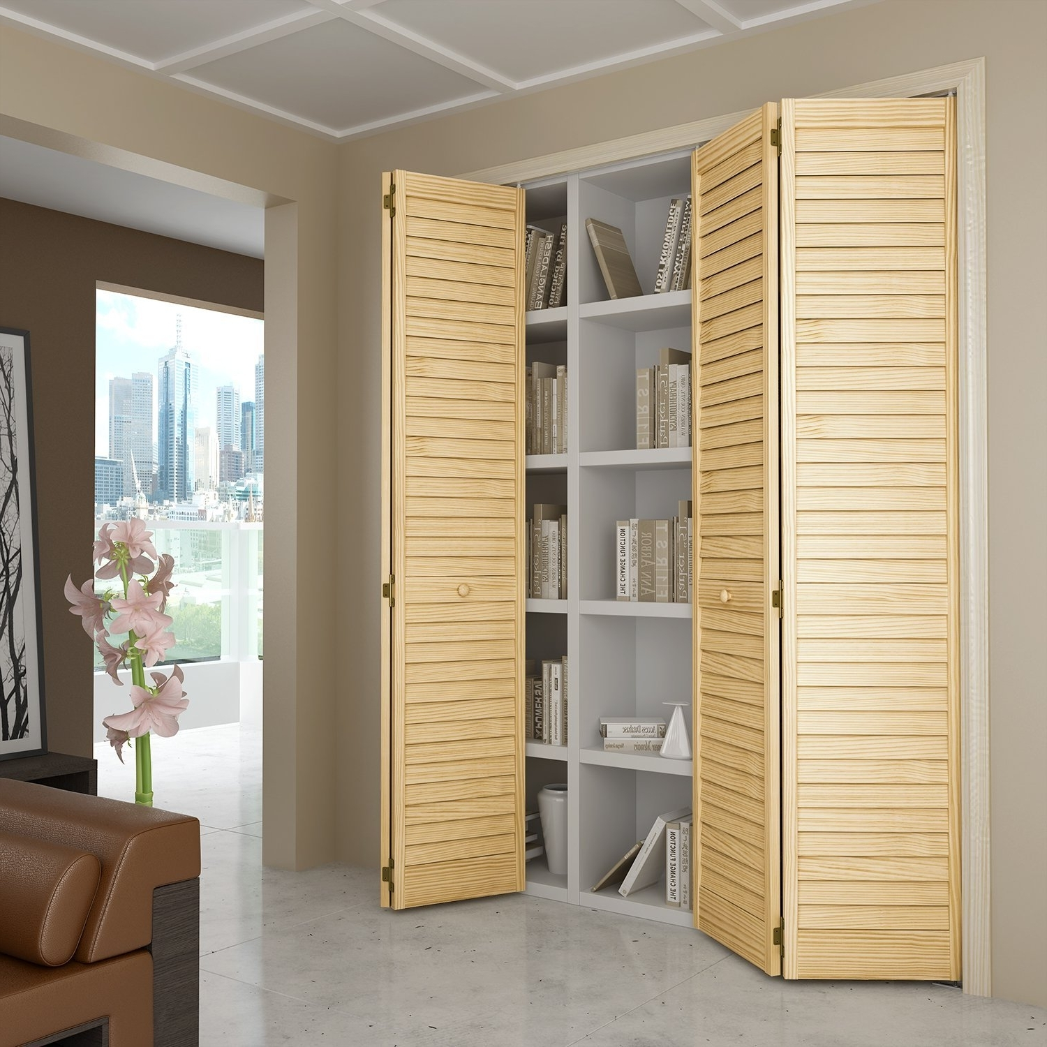 Most Popular Closet Door, Bi Fold, Louver Louver Plantation (36X80) – Closet In Folding Door Wardrobes (View 10 of 15)