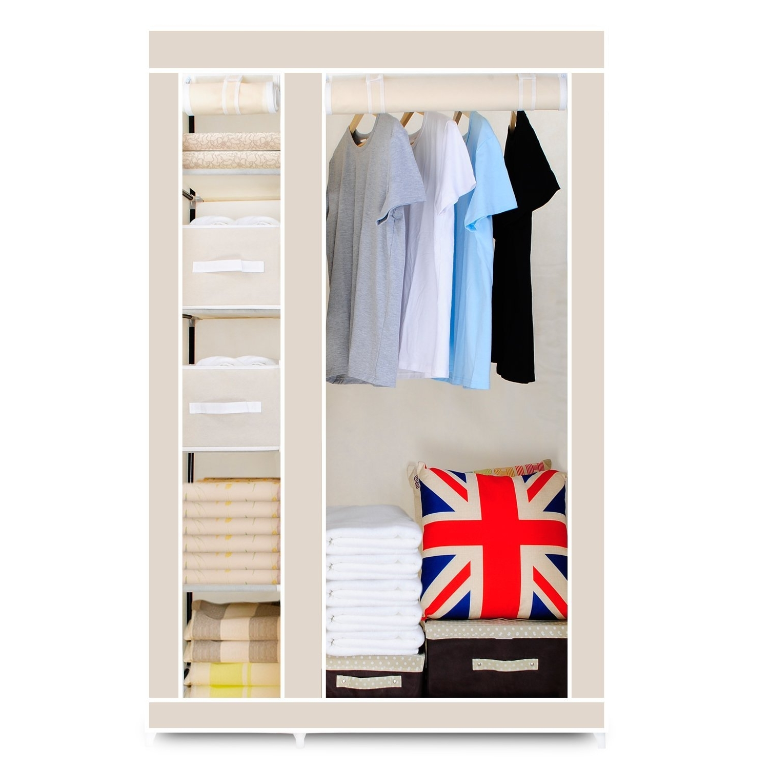 Most Popular Double Black Covered Tidy Rail Wardrobes Throughout Hst Mall Double Canvas Wardrobe Cupboard Clothes Storage Solution (Gallery 14 of 15)