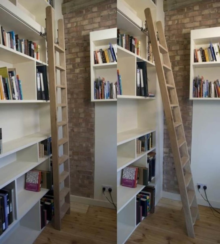 Most Popular Furniture: Excellent Oak Wood Rolling Library Ladder Ideas With Regarding Rolling Library Ladder (View 8 of 15)