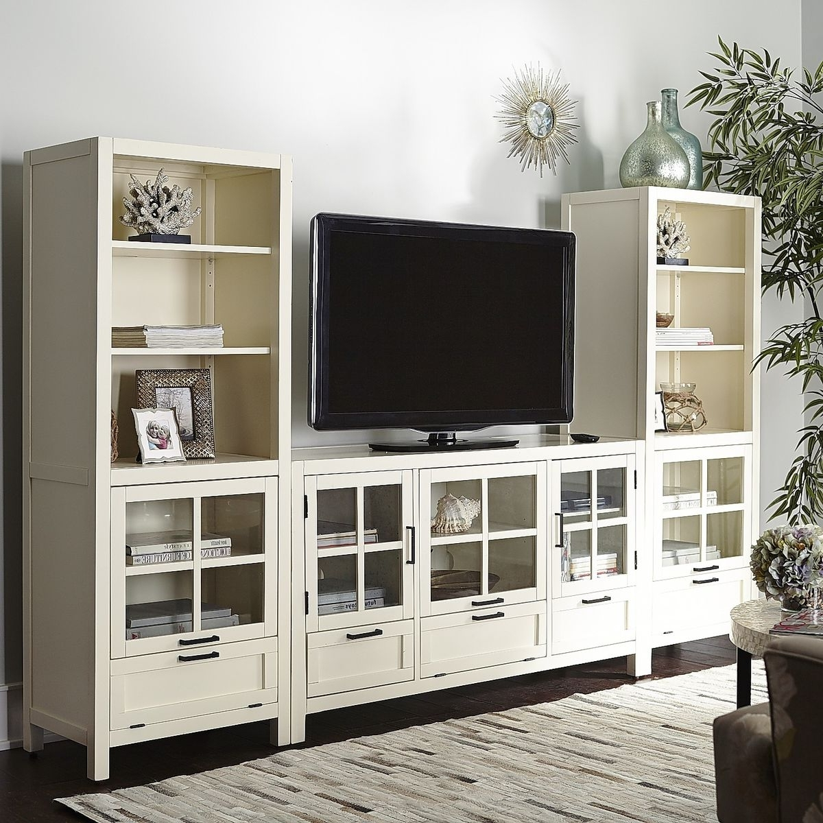 Most Popular Media Bookcases With Regard To Sausalito Bookcase & Media Tower – Antique White (View 2 of 15)