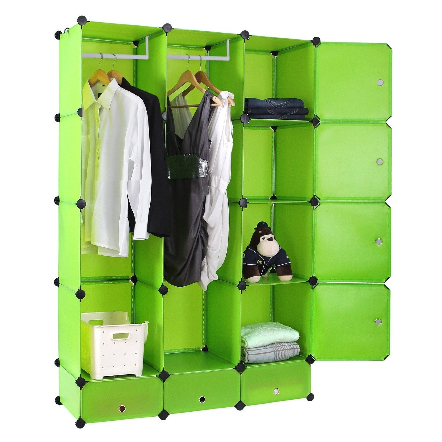 Most Popular Plastic Wardrobes Box With Songmics Diy Plastic Clothes Wardrobe Interlocking Cube Box (View 6 of 15)