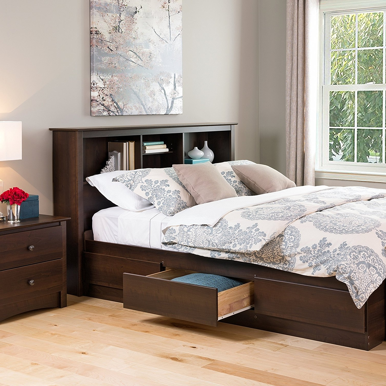 Most Popular Queen Size Bookcases Headboard Throughout Bed Frames : Winsome Double Frame Shelves With Bookshelves Shelf (View 10 of 15)