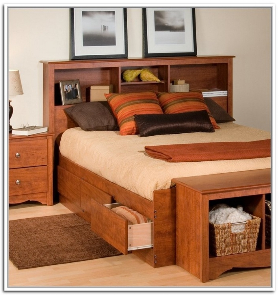 Most Popular Storage Bed: Headboards With Storage For Queen Beds Headboards Throughout Queen Bed Bookcases (View 9 of 15)