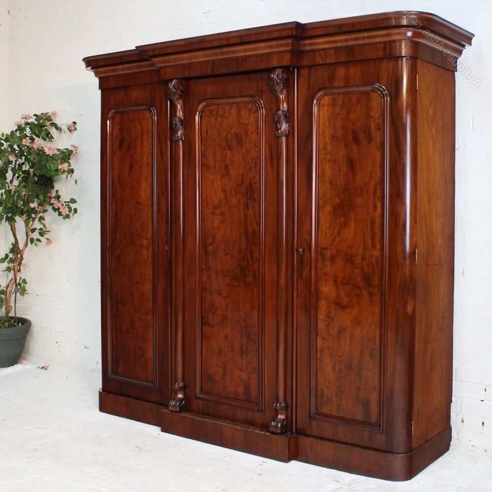 Most Popular Victorian Breakfront Wardrobes In Victorian Mahogany Three Door Breakfront Wardrobe – Antiques Atlas (View 8 of 15)