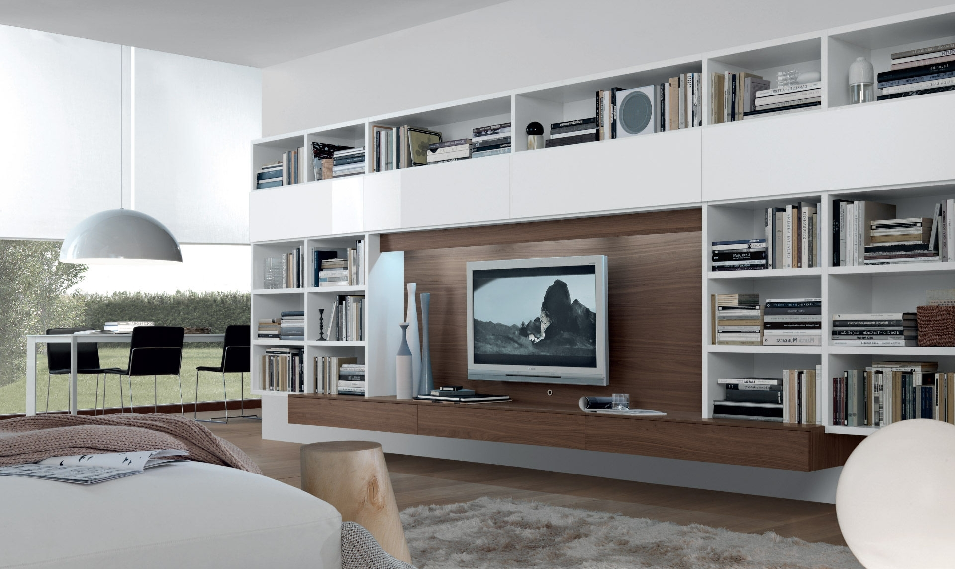 Most Popular Whole Wall Shelving Regarding Contemporary Tv Wall Unit Open System Jesse Gallery Including (View 4 of 15)