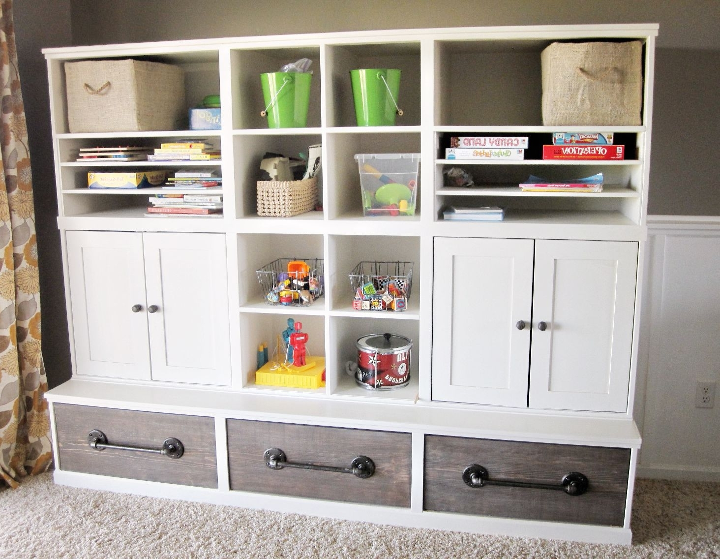 Most Recent Amazing Diy Playroom Storage Plansana White Love The Pipe With Pottery Barn Bookcases (View 8 of 15)