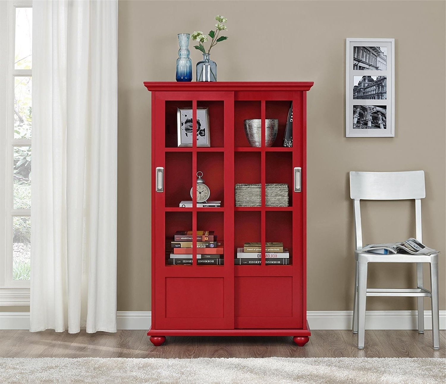 Most Recent Amazon: Ameriwood Home Aaron Lane Bookcase With Sliding Glass Within Red Bookcases (View 1 of 15)