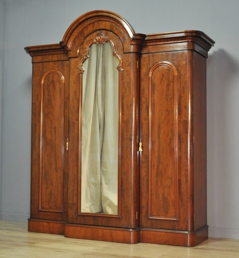 Most Recent Attractive Large Antique Victorian Figured Mahogany Break Front Throughout Victorian Breakfront Wardrobes (View 9 of 15)