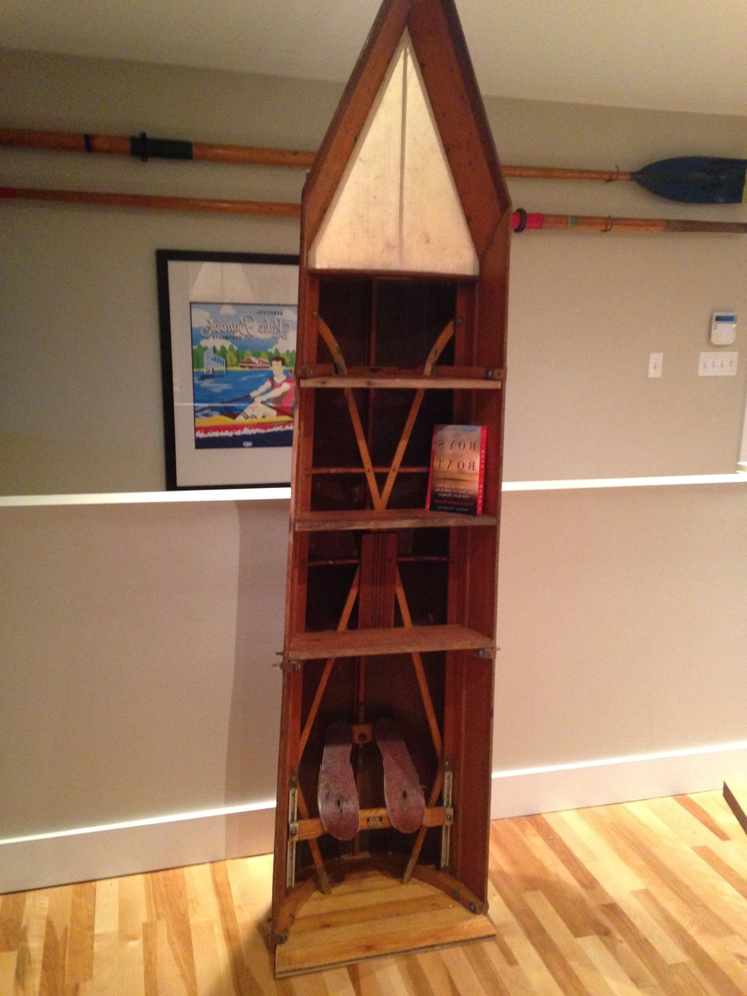 Most Recent Boat Bookcases Within Recycling A Broken Rowing Shell Into Furniture (View 8 of 15)