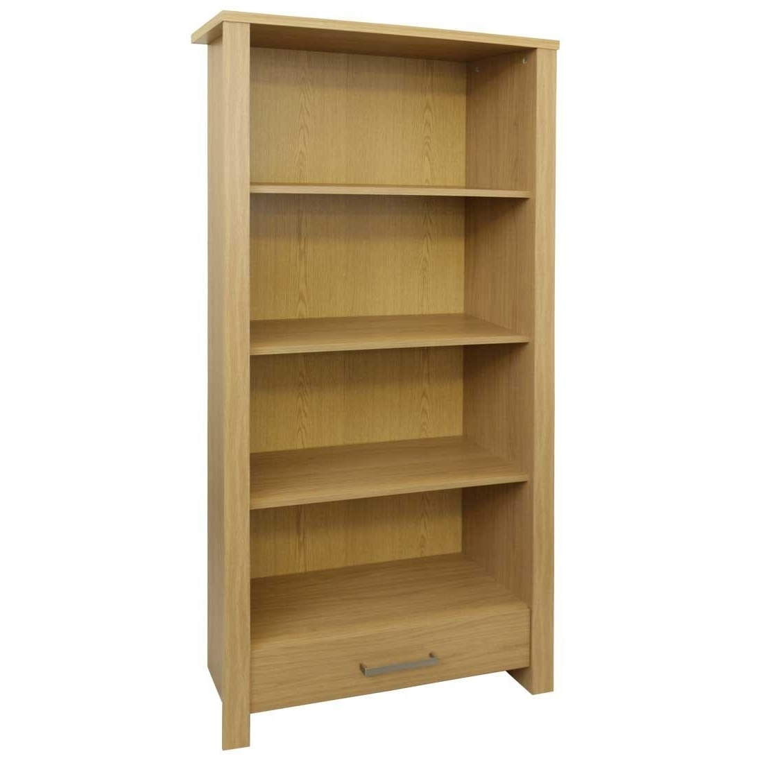 Most Recent Bookcases Flat Pack Throughout Bailey Display Cabinet / Bookcase With Drawer – Oak Wood Effect (View 11 of 15)