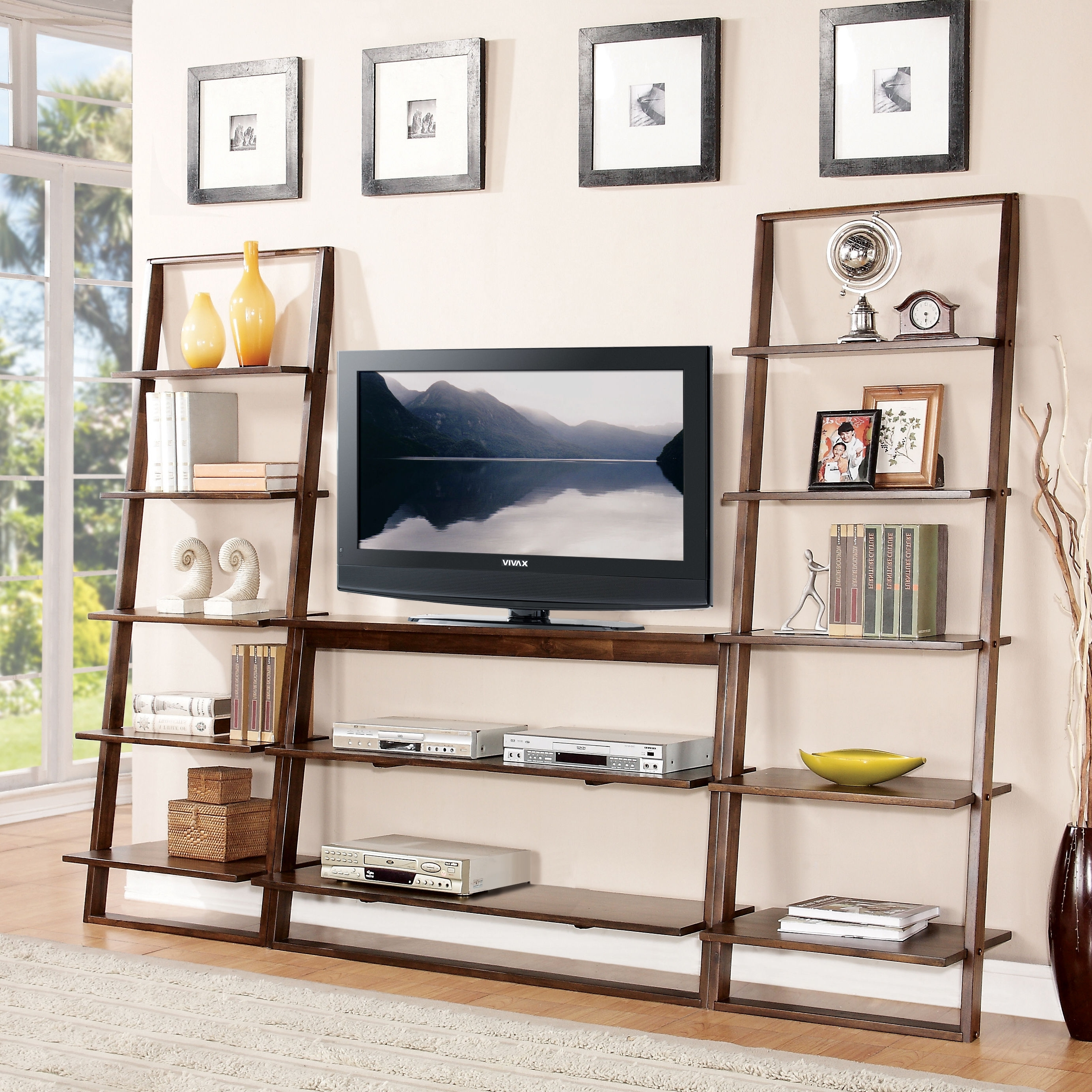 Most Recent Bookcases With Tv Space With Regard To Contemporary Leaning Bookcase Ideas: Minimalist Leaning Bookcase (View 9 of 15)