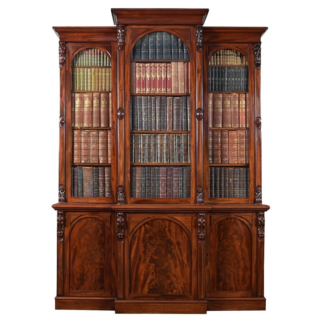 Most Recent Breakfront Bookcases Within Victorian Mahogany Three Door Breakfront Bookcase At 1Stdibs (View 8 of 15)