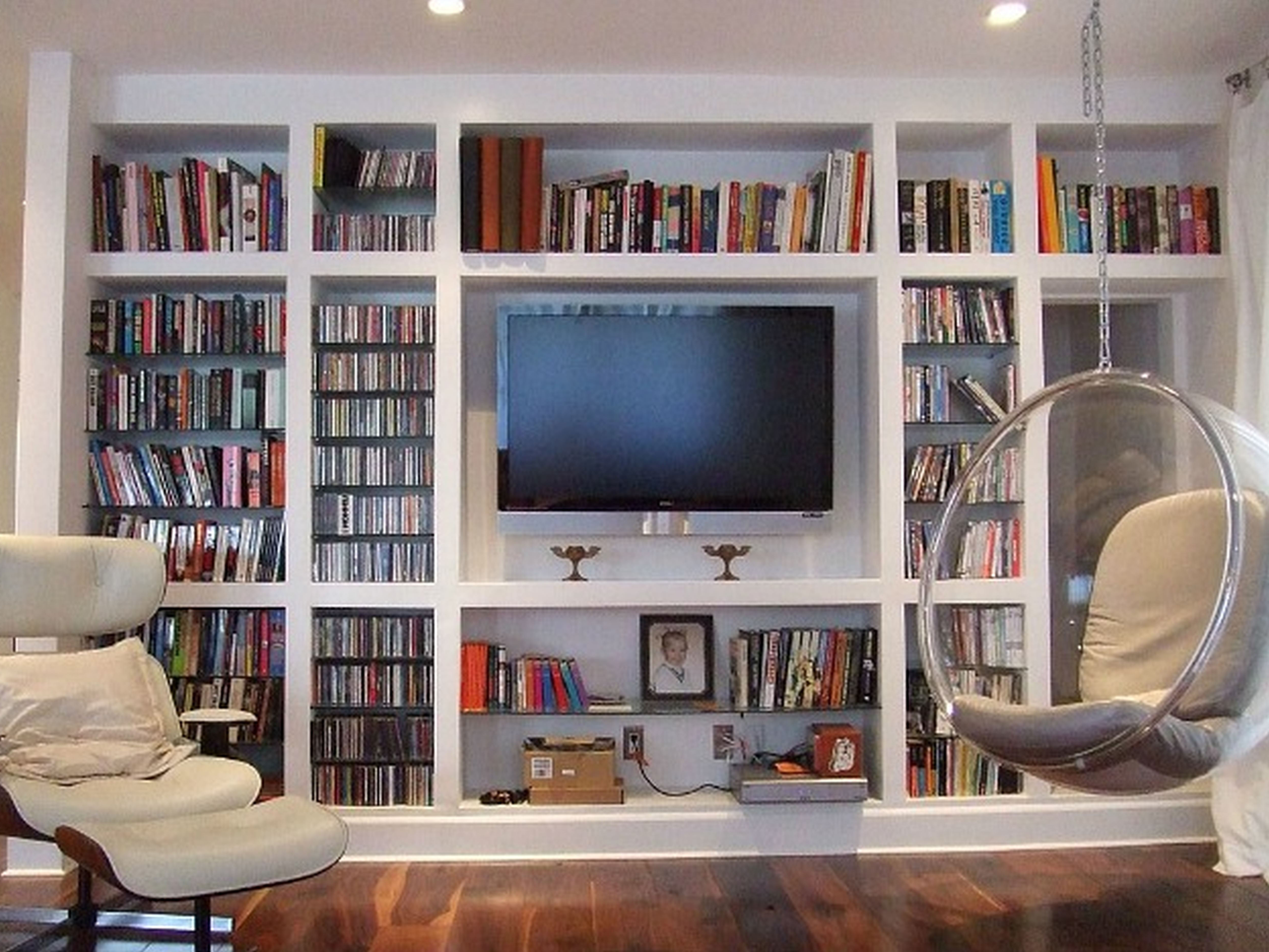 Most Recent Built In Bookshelves With Tv Within Built In Bookshelves With Tv Space Made To Measure Spray Painted (View 11 of 15)