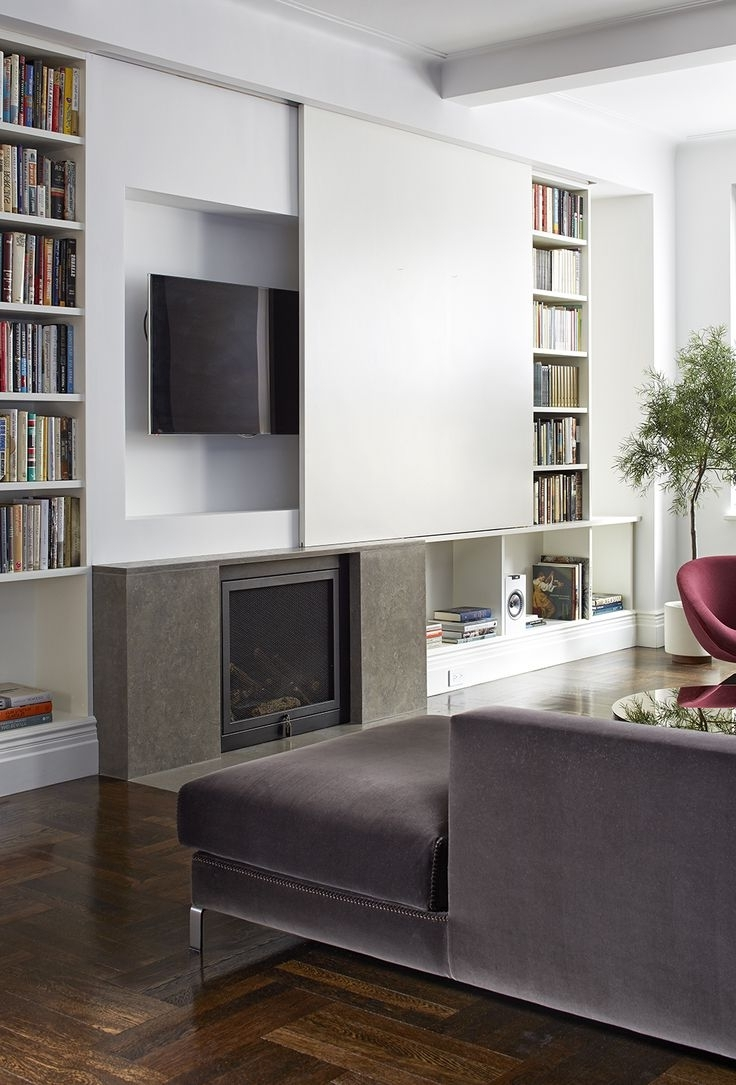 Most Recent Hidden Tv Units Regarding Bookshelves Around Tv Floating Shelves Flat Screen Inspiring Wall (View 5 of 15)