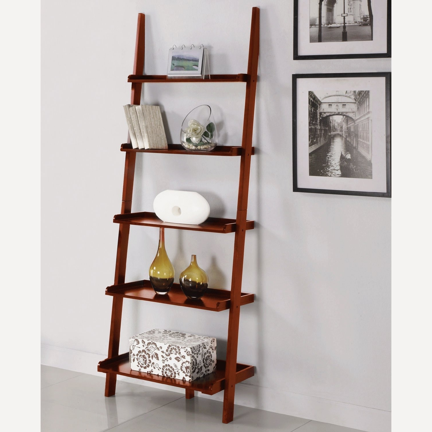 Most Recent Leaning Shelf Bookcases Intended For Amazon: Athomemart Leaning Ladder Bookshelf In Cherry Finish (View 7 of 15)