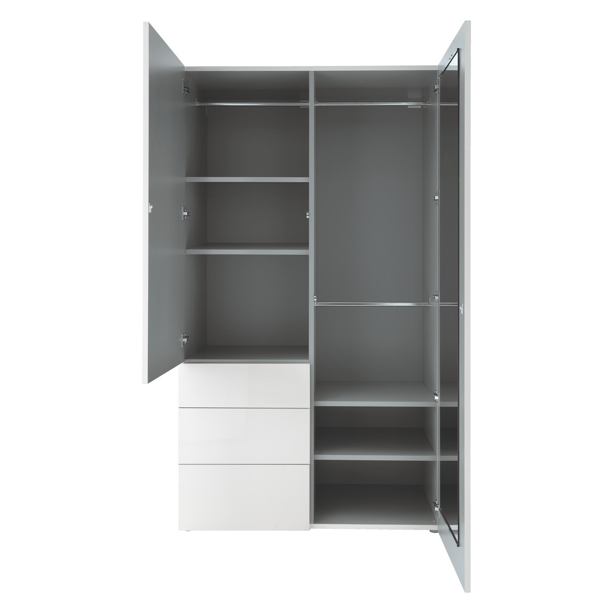 Most Recent Wardrobes With Shelves And Drawers Pertaining To Perouse White 2 Door Wardrobe 120Cm Width (View 5 of 15)