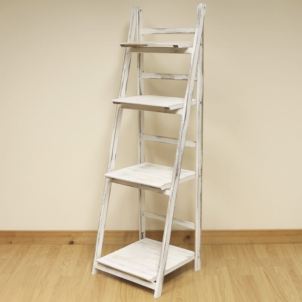 Most Recent Whitewash Bookcases Throughout 4 Tier White Wash Ladder Shelf Display Unit Free Standing/folding (View 8 of 15)