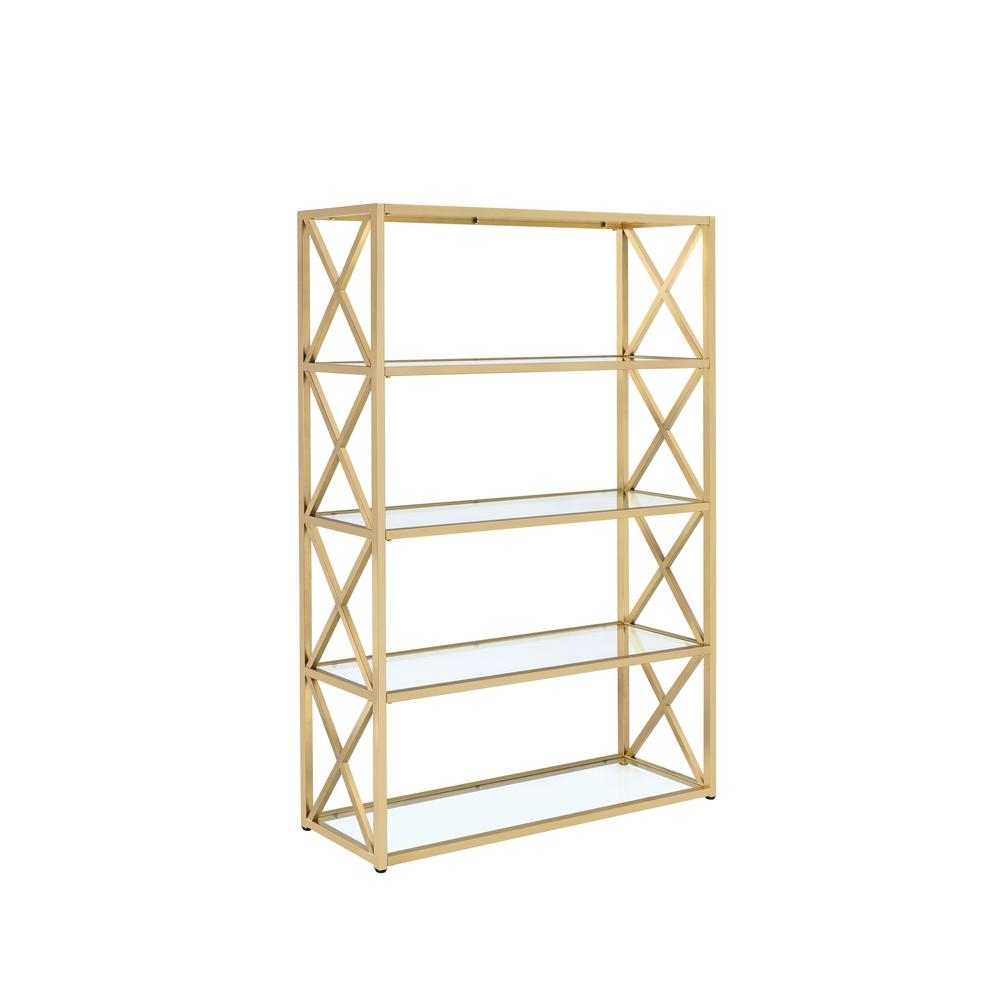 Most Recently Released Acme Furniture Milavera Etagere Clear Glass And Gold Bookcase With Gold Metal Bookcases (View 3 of 15)